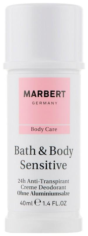 Безалюминиевый кремовый дезодорант Bath & Body Sensitive Aluminium-free Cream Deodorant Marbert Германия 40 мл(р) — фото №1
